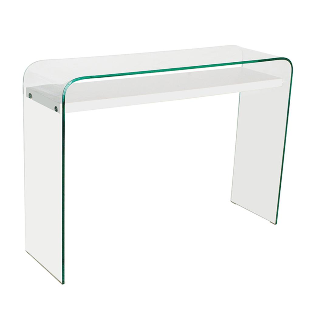 Design Glazen Sidetable.Aspect Design Sidetable Evers Gebogen Glas Met Hoogglans Witte Legplank